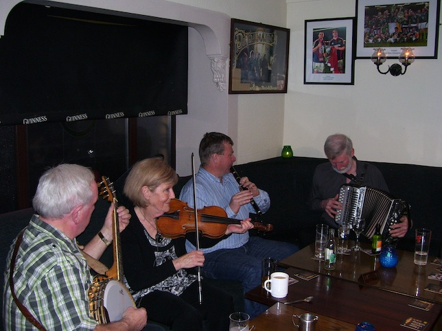 Tom Cussen, Maureen Brown, Eamonn Cotter and Charlie Harris at Pat Jordan's pub in Clarinbridge