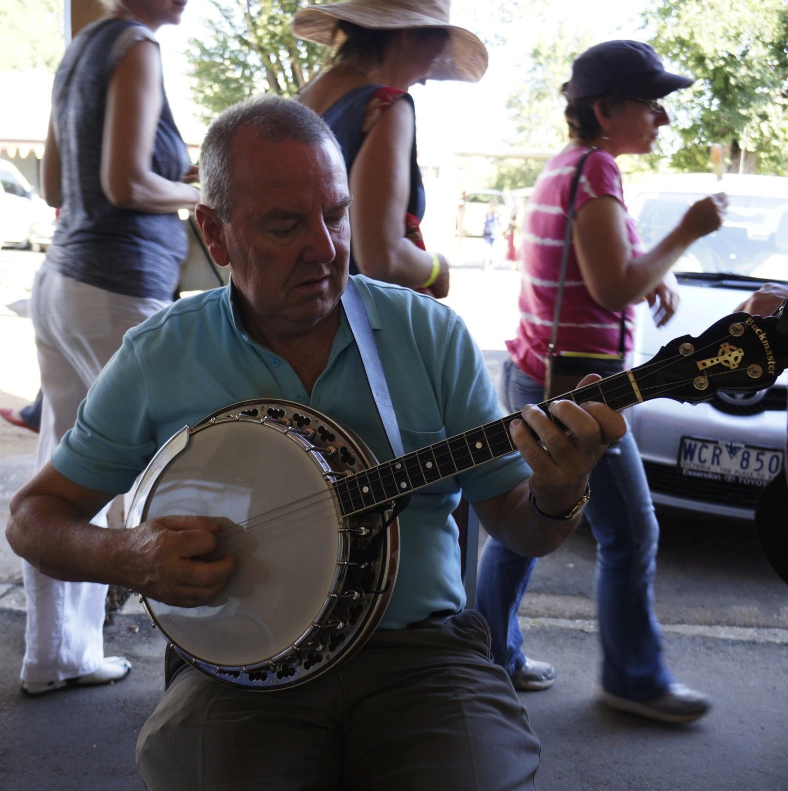 Tony O'Rourke plays banjo at Newstead